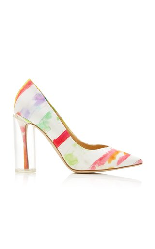 Exclusive Plexi Printed Cotton-Faille Pumps