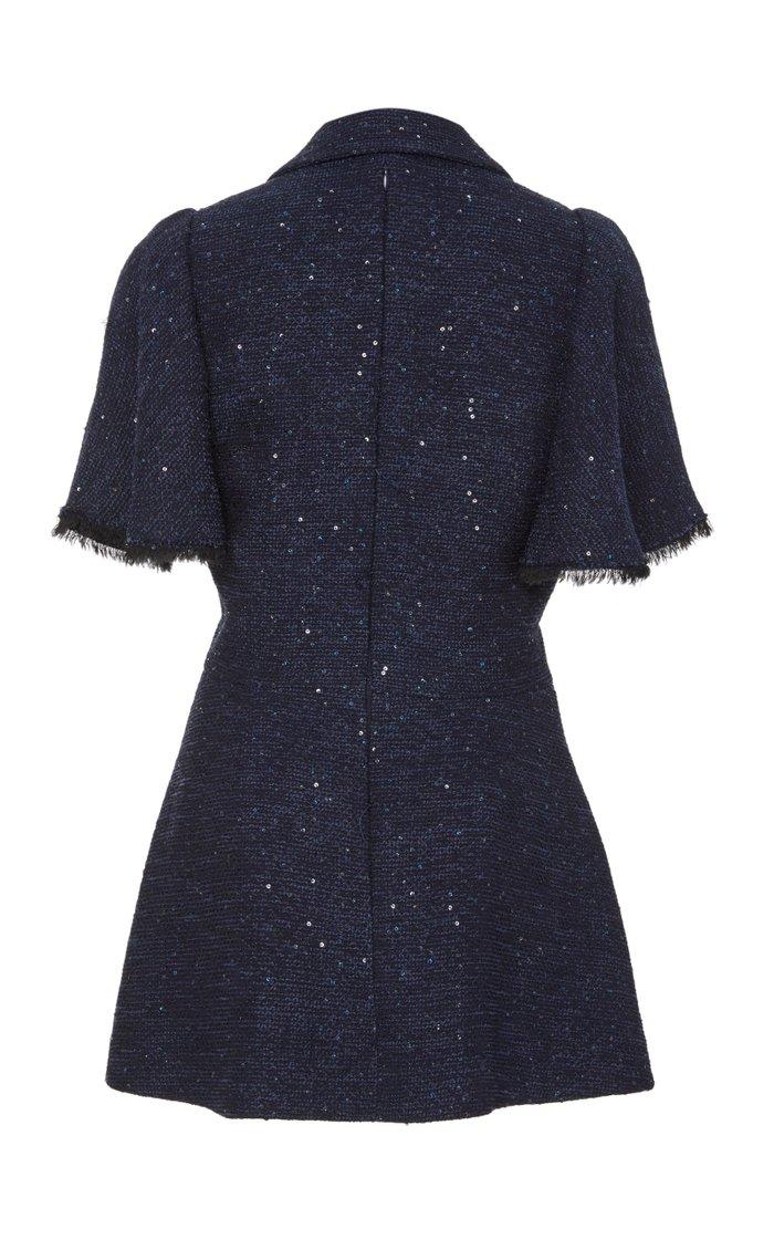 Flutter Sleeve Sequined Tweed Blouse