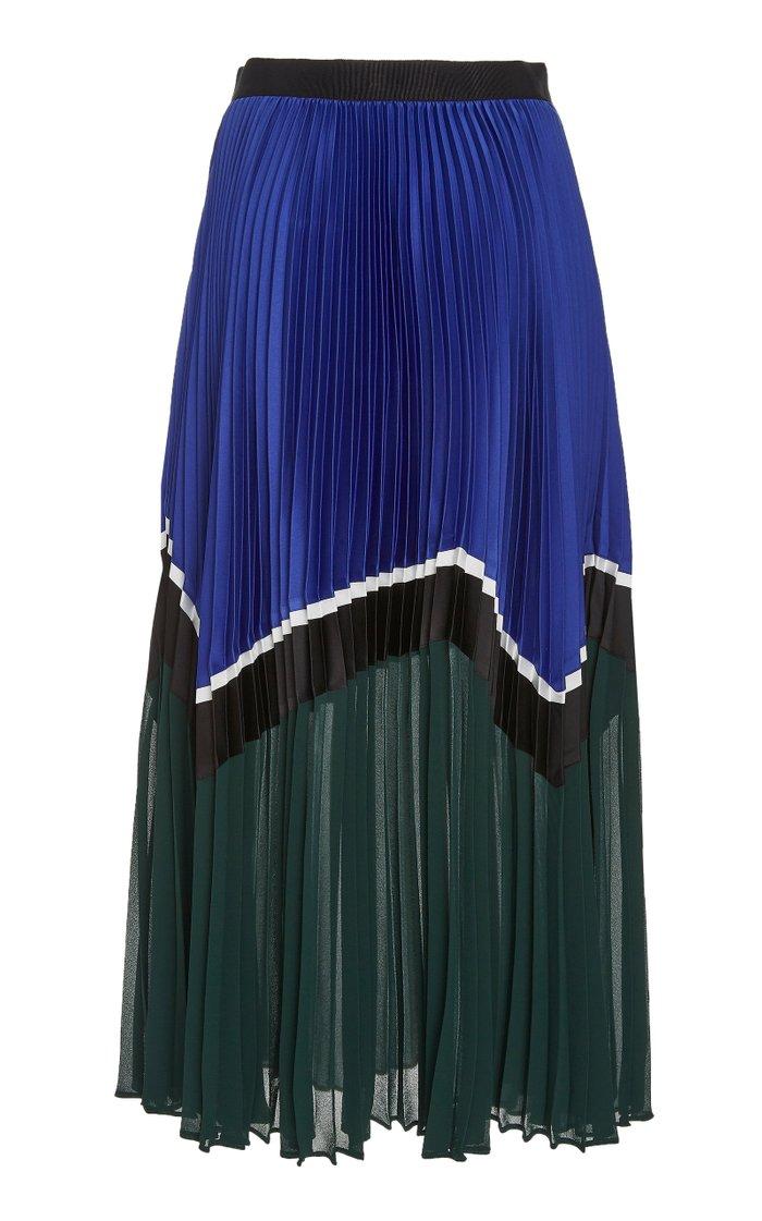 Colorblock Pleated Chiffon Midi Skirt