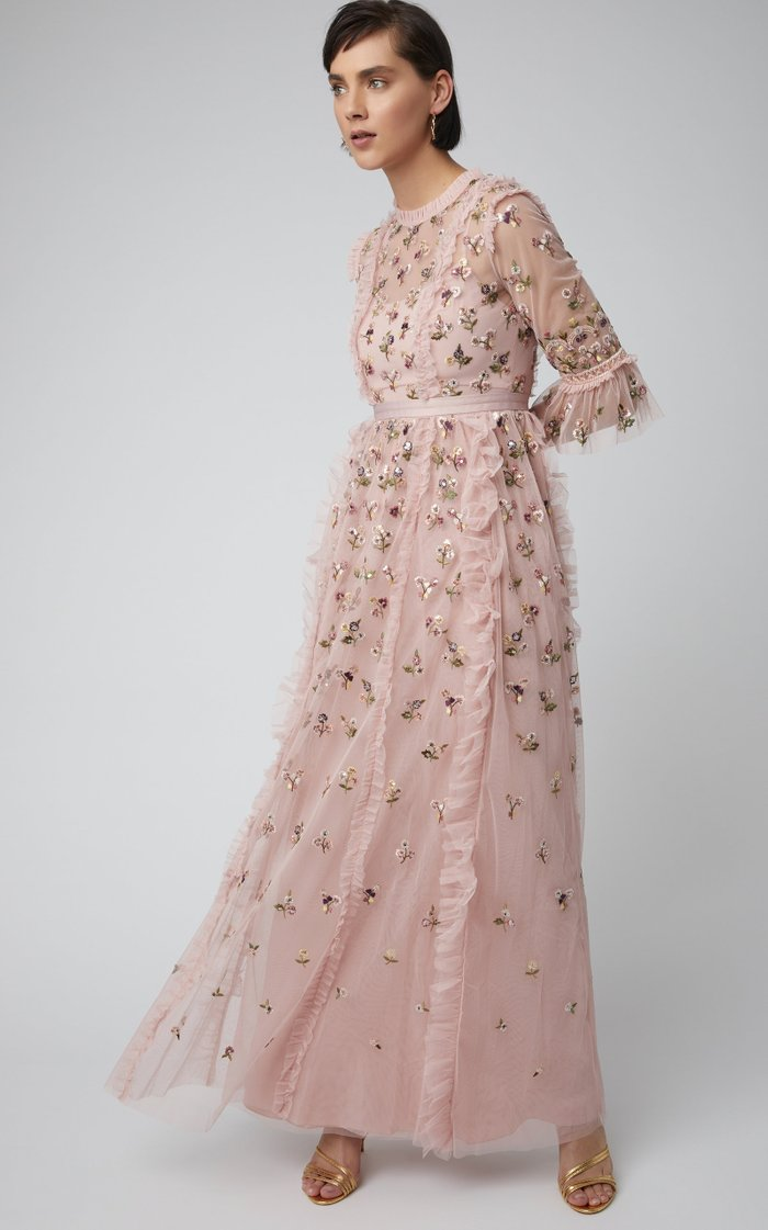 Rococo Floral-Embroidered Tulle Gown