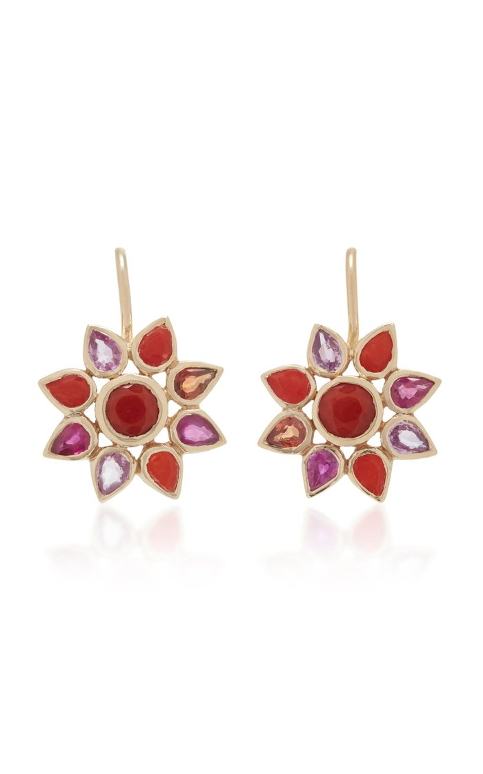 14K Gold, Coral, And Sapphire Flower Earrings