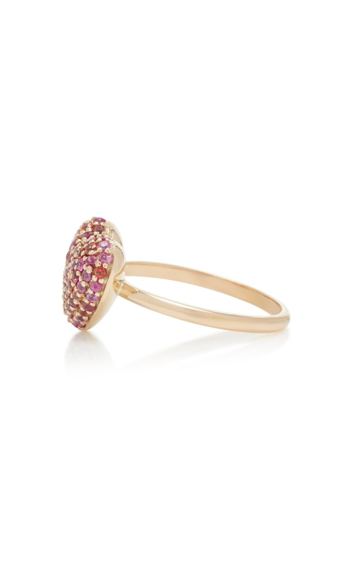 14K Gold And Sapphire Heart Ring