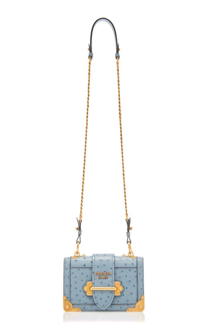 Ostrich Cahier Shoulder Bag