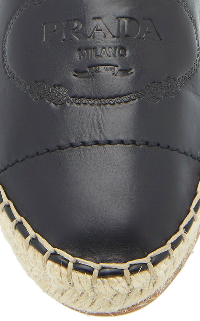 Logo-Embossed Leather Espadrilles
