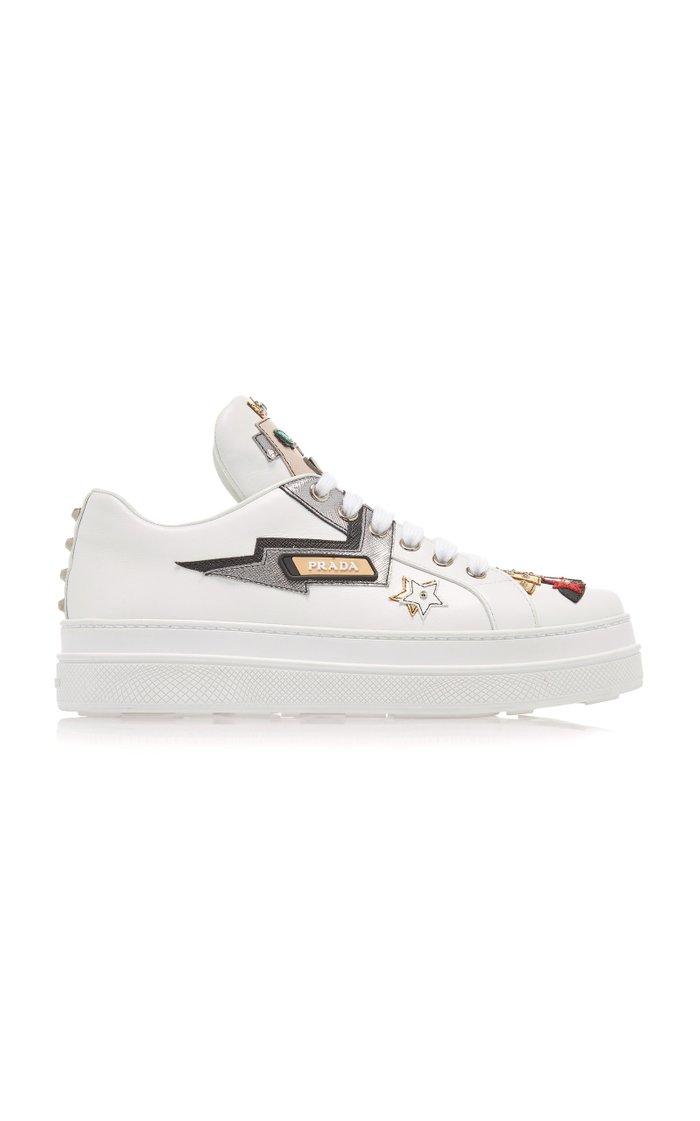 Appliquéd Leather Platform Sneakers