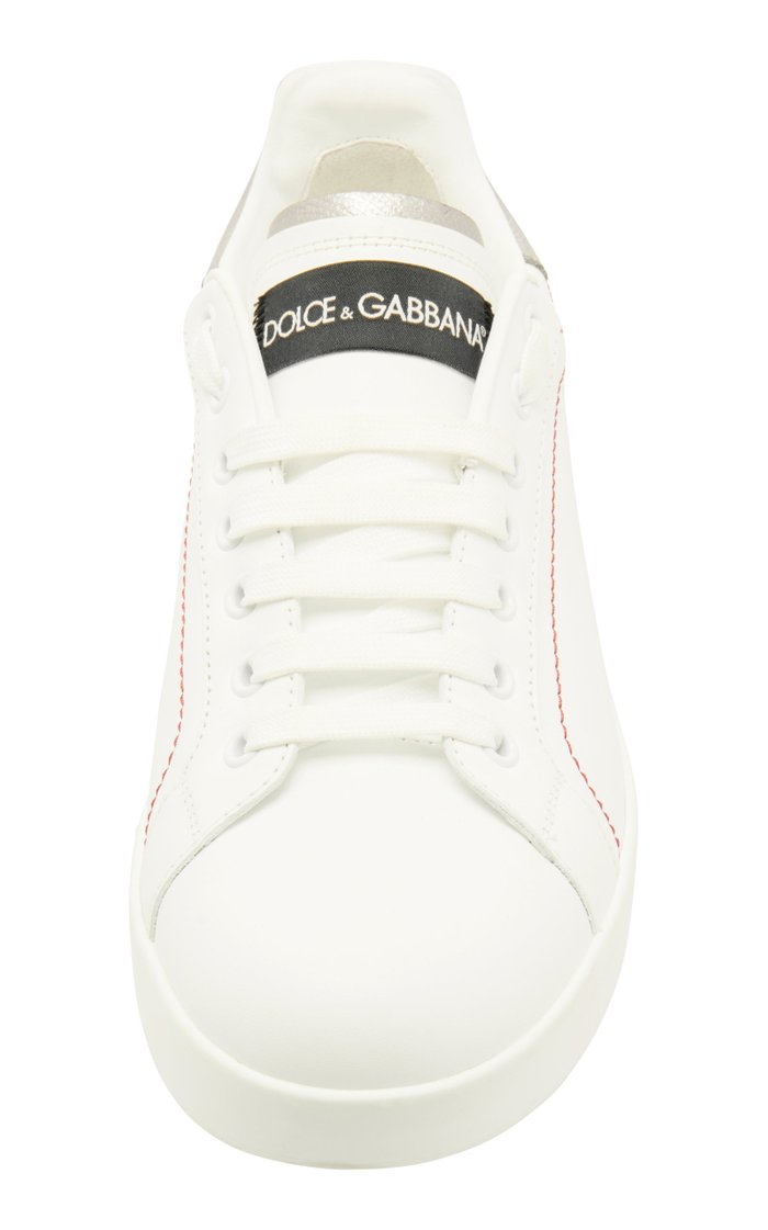 Metallic Leather-Trimmed Logo Sneakers