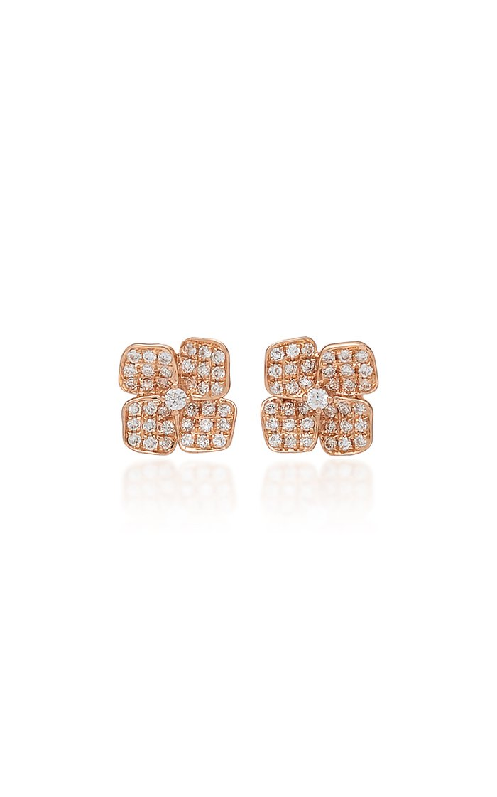 Floral 18K Gold And Diamond Stud Earrings