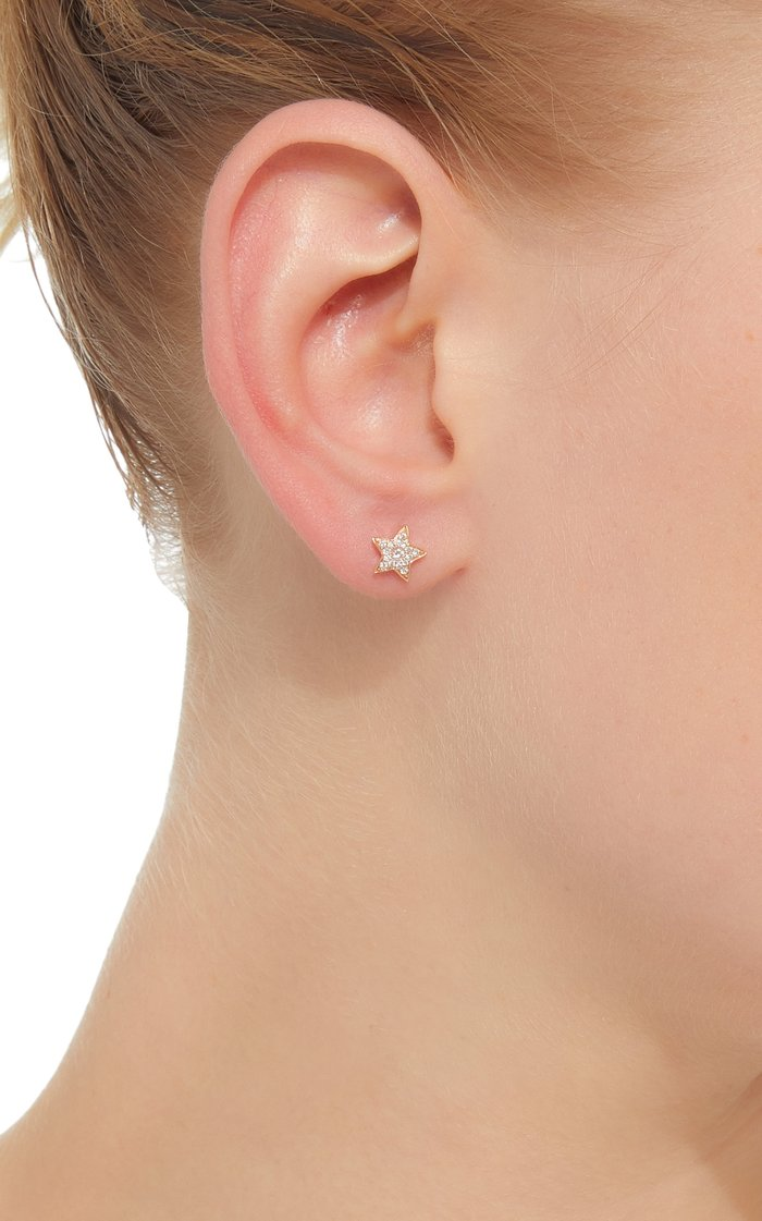 18K Gold And Diamond Star Studs