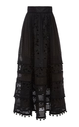 Corsage Embellished Silk-Linen Midi Skirt