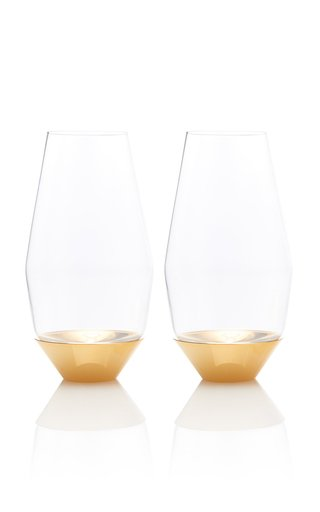 Set-Of-Two Gold Champagne Glasses