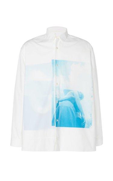 Printed Cotton-Poplin Button-Up Shirt