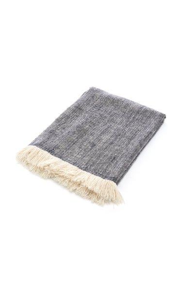 Gujjar Herringbone Cashmere Throw Blanket
