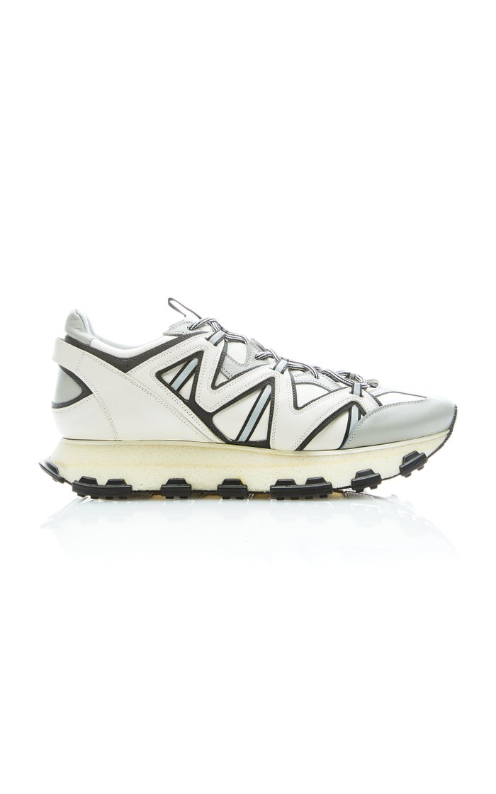 Reflective Leather Low-Top Sneakers