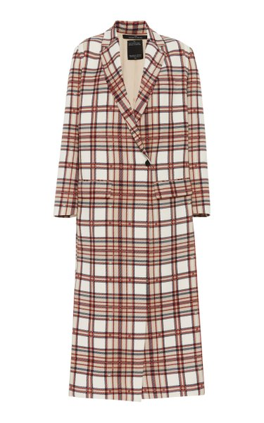 Tailored Plaid Coat With Slits