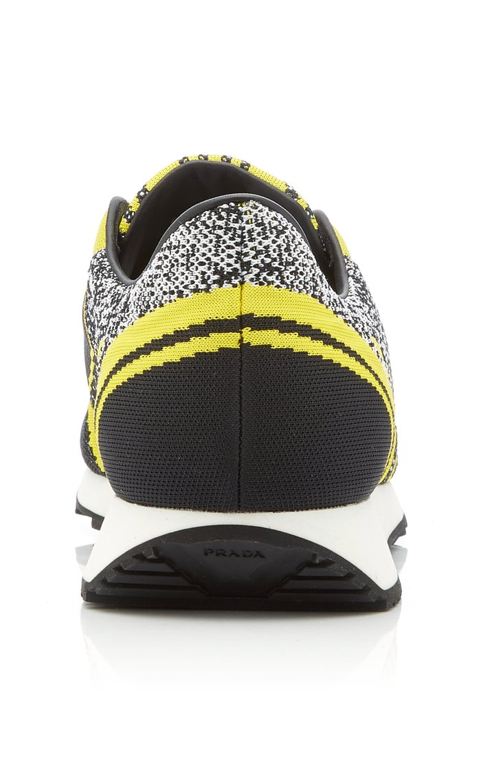 Embroidered Stretch-Knit Sneakers