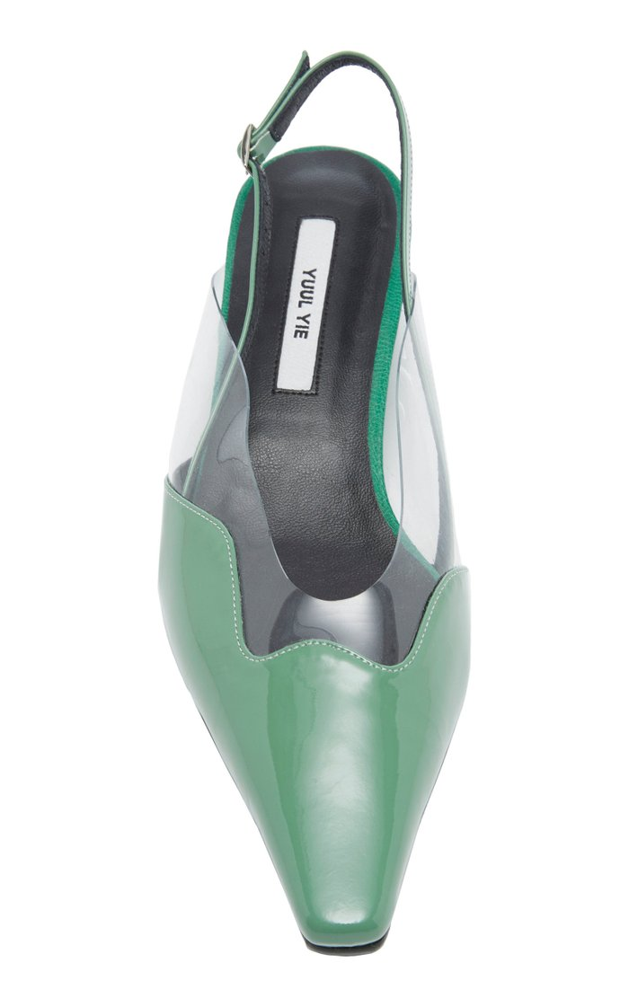 Dewy Patent Leather Silngback Pumps