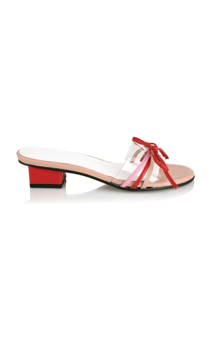 Bow-Embellished PVC-Trimmed Leather Sandals