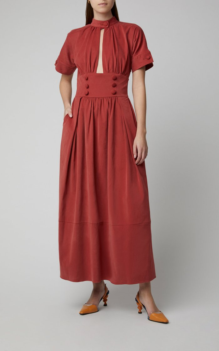 Button-Embellished Cotton Maxi Dress