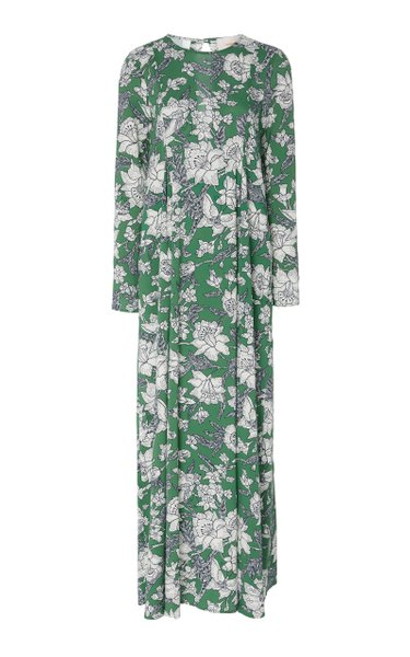 Pleated Floral-Print Voile Maxi Dress