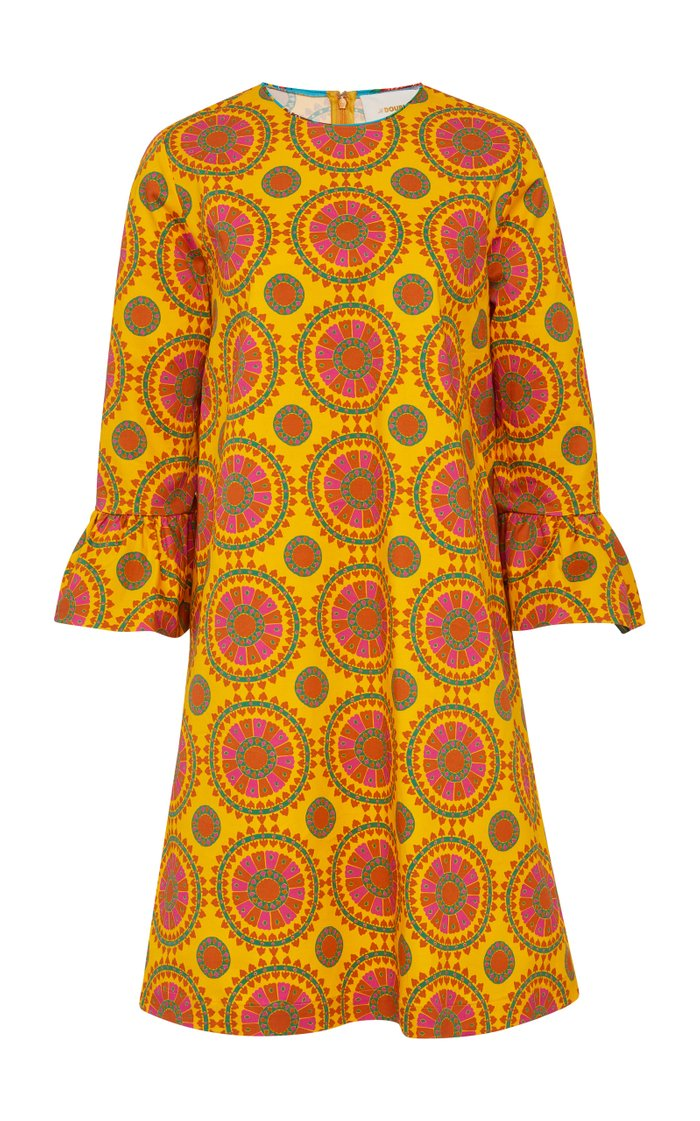 Printed Cotton-Blend Shift Dress