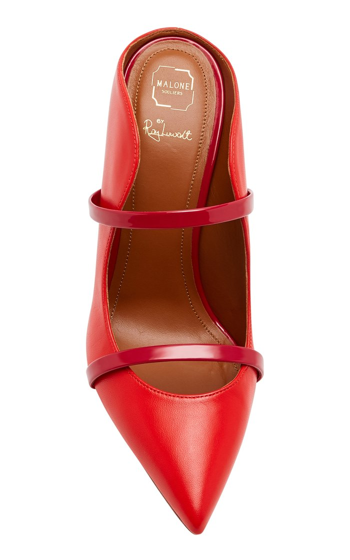 Maureen Patent Leather-Trimmed Leather Mules