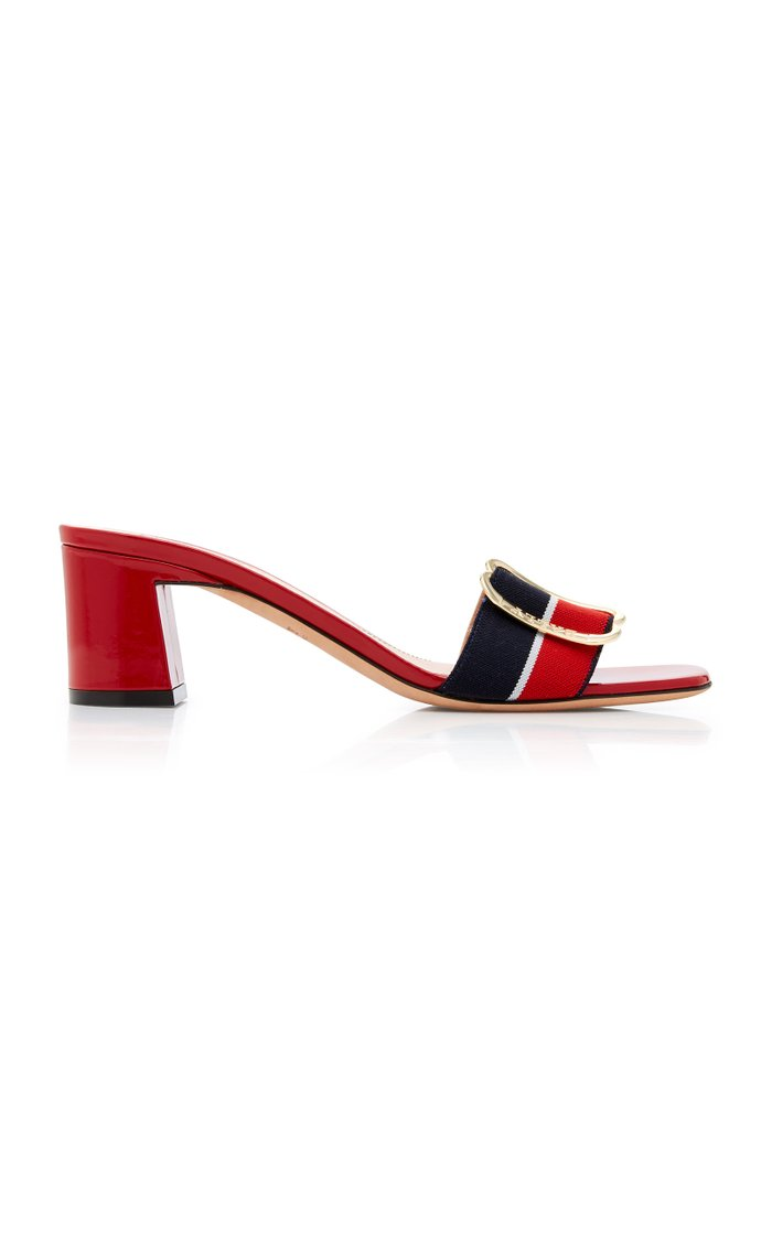 Jordy Striped Grosgrain and Patent Leather Sandals