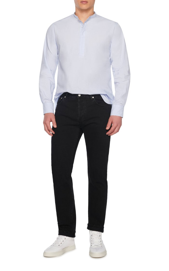 Alfred Collarless Cotton-Poplin Shirt