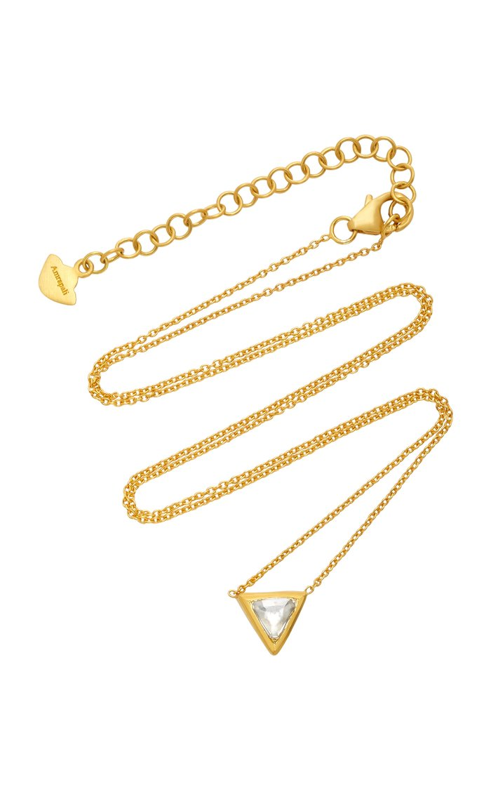 Kundan Vintage Diamond And 18K Gold Triangle Pendant Necklace