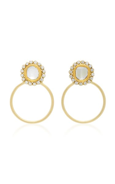 Kundan 18K Gold and Diamond Hoop Earrings