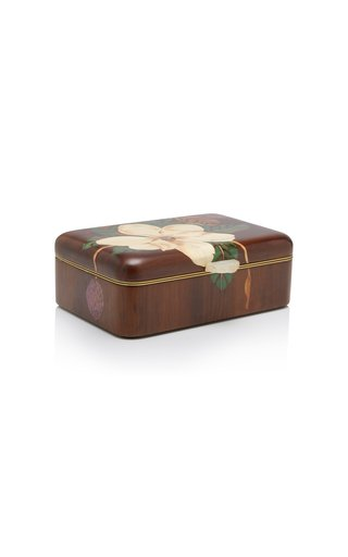 White Magnolia Flower Wooden Box