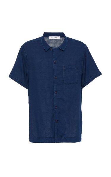 Camp Collar Cotton Button-Up Shirt