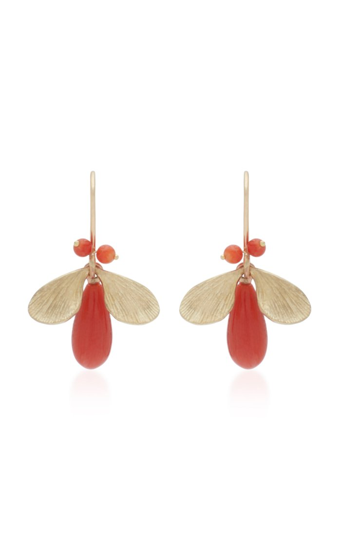 Jeweled Bugs 14K Gold And Coral Drop Earrings