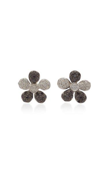 Small Flower 18K White And Black Gold Stud Earrings