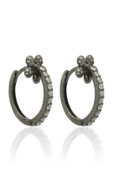 Mini Petite Flower 18K Black Gold And Diamond Hoop Earrings