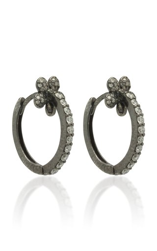 Mini Petite Flower 18K Black Gold And Diamond Hoop Earrings