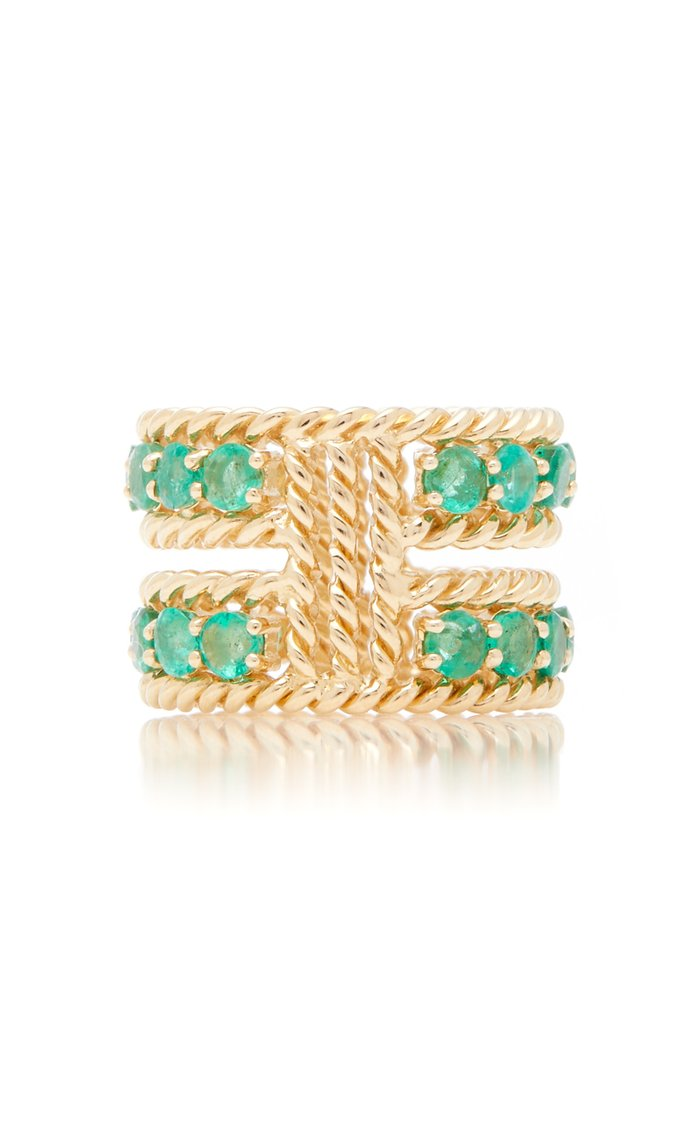 Emerald Two-Row Twist Ring