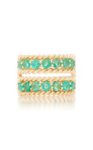 Emerald Two-Row Twist Ring