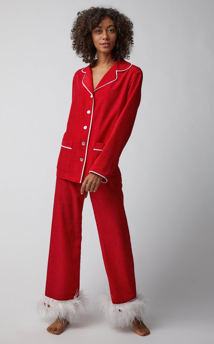 Ostrich Feather-Trimmed Satin Pajama Set