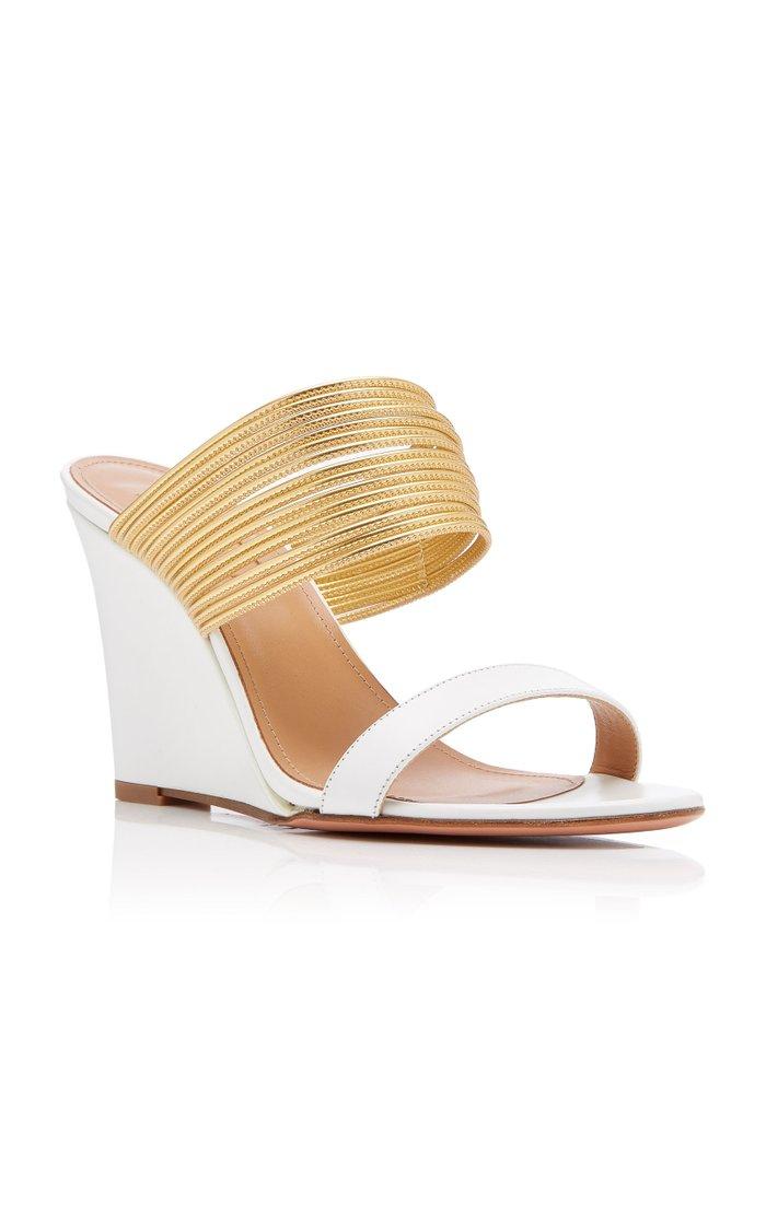 Rendezvous Metallic Leather Wedge Sandals