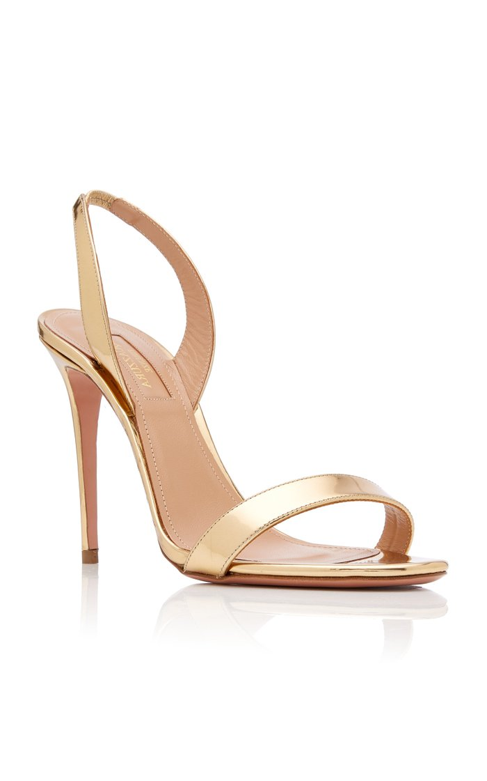 So Nude Metallic Leather Slingback Sandals