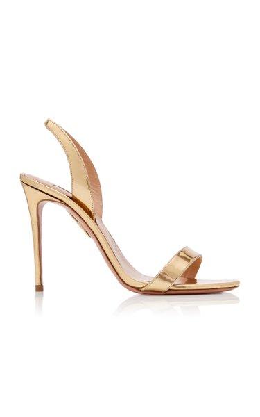 So Nude Metallic Leather Slingback Sandals