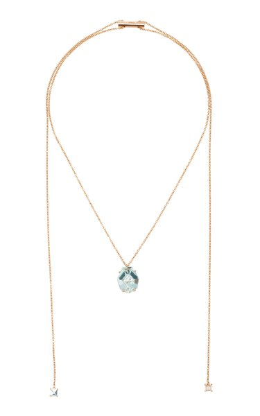 18K Rose Gold Aquamarine Necklace