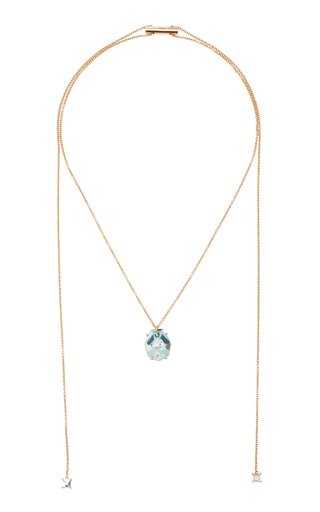 18K Rose Gold Aquamarine Necklace