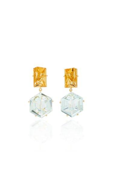 18K Gold, Aquamarine and Citrine Earrings