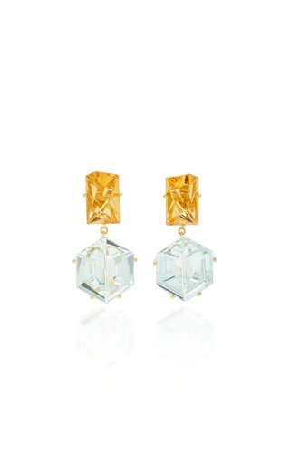 18K Gold, Aquamarine and Citrine Earrings