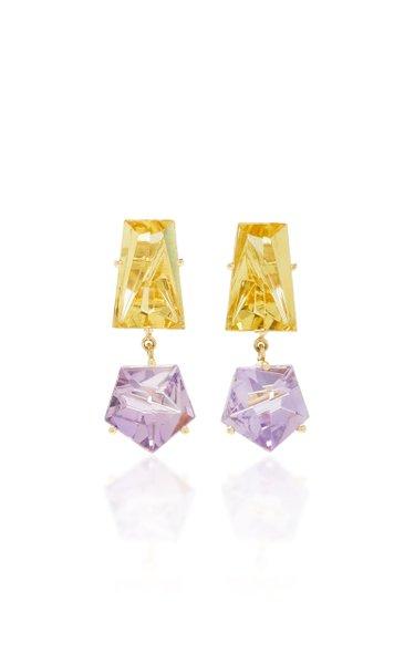 18K Gold, Amethyst and Beryl Earrings