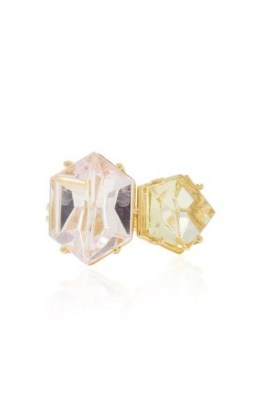 18K Gold, Morganite and Beryl Ring