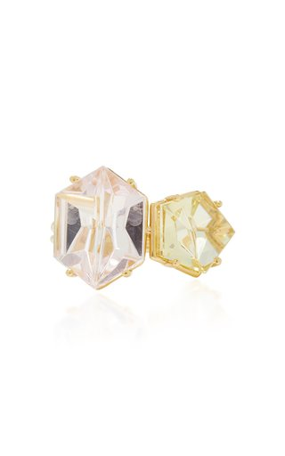 18K Gold, Morganite and Beryl Ring