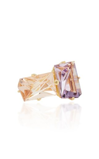 18K Gold, Morganite and Amethyst Ring