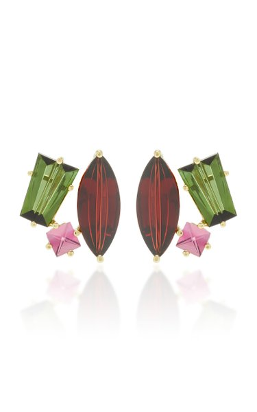 One-Of-A-Kind 18K Gold and Multi-Stone Earrings